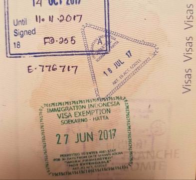 Visa d'entrée et sortie en Indonésie